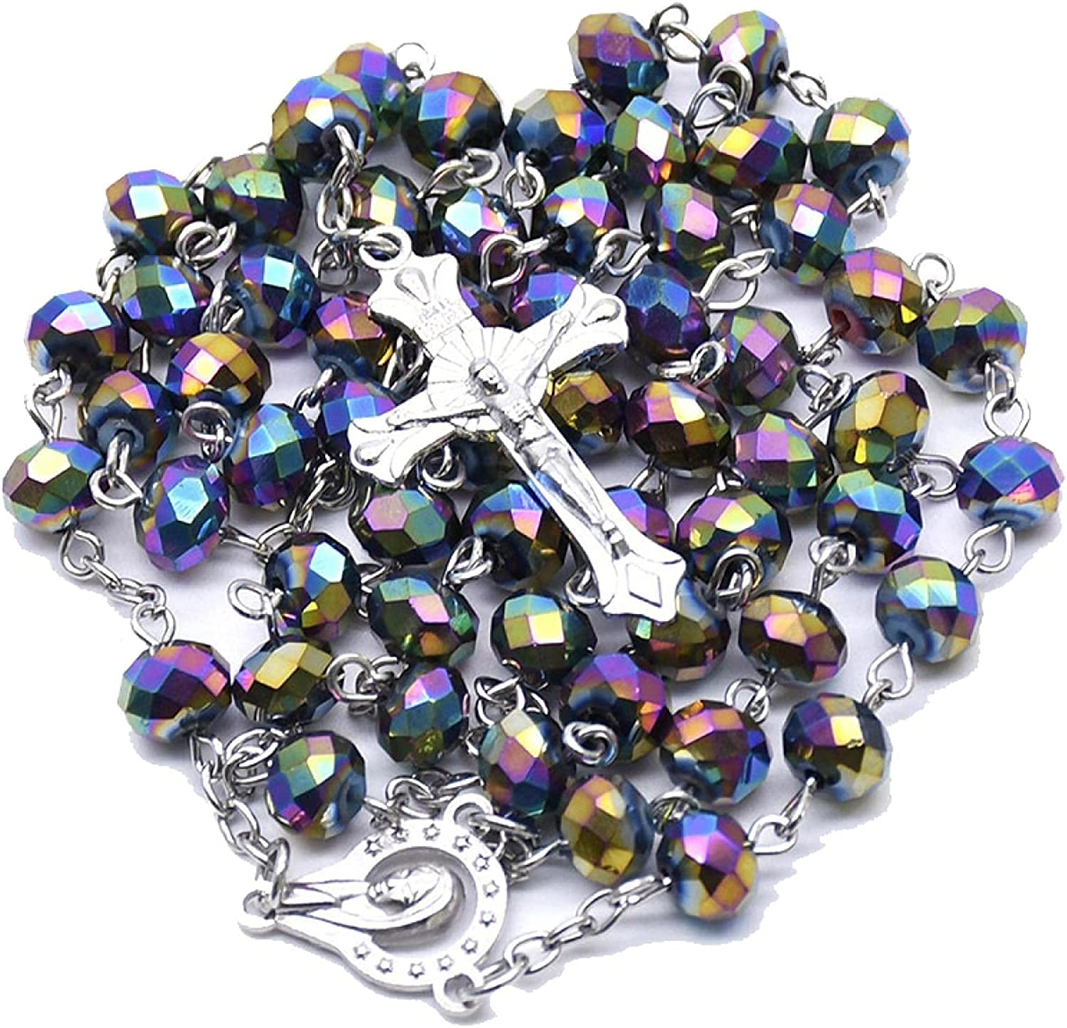 Colorful Crystal Corner Beads Rosary Necklaces Women Charm Jesus Christ Cross Necklace Religious Jewelry