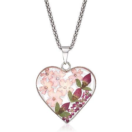 Large Flower Winged Heart Porcelain Pendant