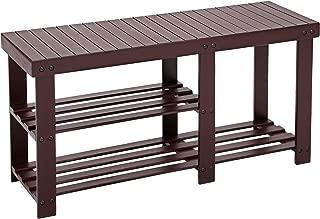 SONGMICS Bamboo Shoe Rack Bench for Boots, Entryway Storage Organizer, 3 Tiers Shoe Shelf, Multi Function for Hallway Bathroom Living Room Corridor and Garden, Brown ULBS06Z