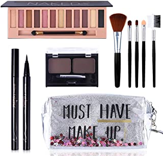 All in One Makeup Kit,12 Colors Naked Shimmer Eyeshadow Palette, Waterproof Black Eyeliner...