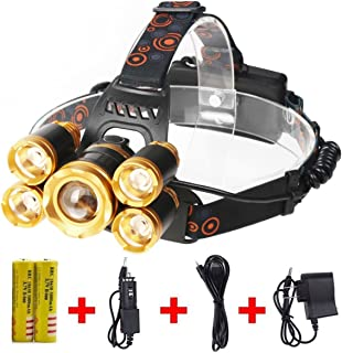Super Bright Led Headlamp,8000 LM 5 LED Super Bright Headlight ,Waterproof Hard Hat Light, IMPROVED LED Rechargeable Zooma...