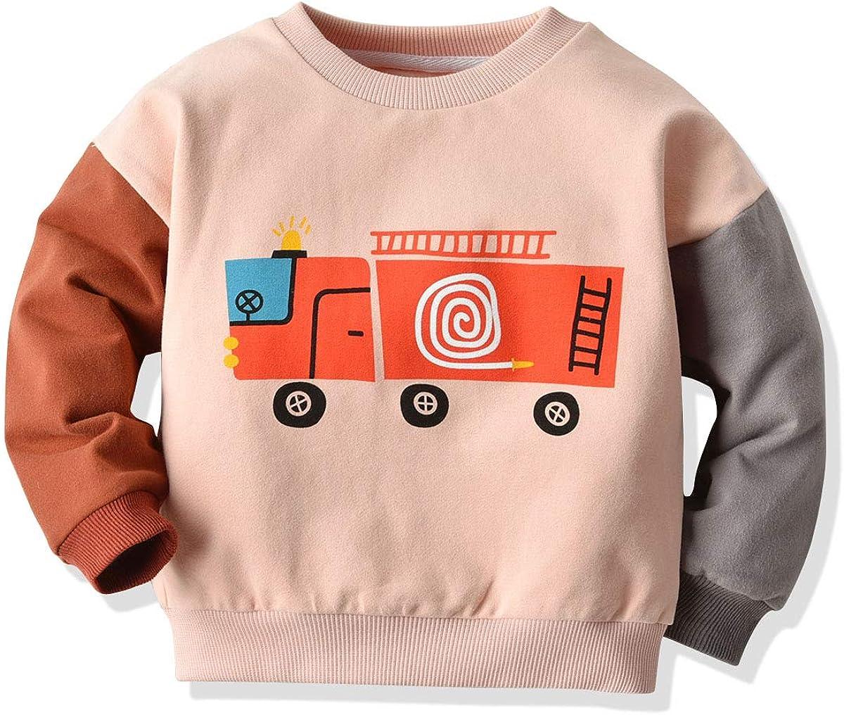 Toddler Baby Boys Crewneck Sweatshirt Top Long Sleeve Car Print Tee Shirt Casual Spring Clothes