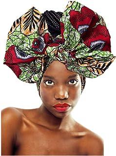 ربطة رأس من L'VOW قابلة للتمدد للنساء وشاح طويل مطبوع على الطراز الإفريقي (أزهار أ)