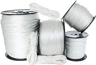 白色实心编织尼龙绳(0.32 cm - 1.27 cm)- 防霉、紫外线、天然气和耐候 - 锚、牵引线、划船、停泊、露营、滑轮、块、DIY 项目、户外(1.27 m - 182.88 cm)
