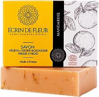 ÉCRIN DE FLEUR - Jabón de Mandarina, Orgánico Certificado por Ecocert – Con Aceites Esenciales de Caléndula y Tangerina – Esta Pastilla de Jabón No Tóxico, Sin SLS o Químicos.