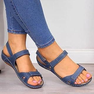 DZQQ Femmes Sandales Plates 2020 été Bout Ouvert Solide Faux Cuir orthopédique Femmes Chaussures Plate-Forme décontractée ...