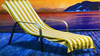Home Bargain Plus Cabana Stripe Chaise Lounge Cover, 100% Cotton Terry, 28 Inch x 78