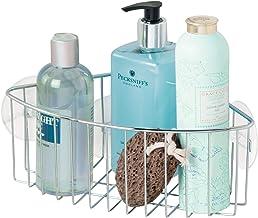 iDesign 3402 Rondo Metal Wire Suction Bathroom Shower Caddy Corner Basket for Shampoo, Conditioner, Soap, Creams, Towels, ...