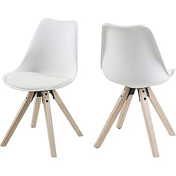 pour le bureau le salon Damiware Romeo Lot de 2 chaises de salle /à manger en polypropyl/ène et en bois de h/être la cuisine Noir complet style r/étro
