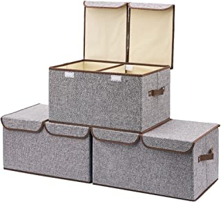 EZOWare Large Storage Boxes [3-Pack] Large Linen Fabric Foldable Storage Cubes Bin Box Containers with Lid and Handles for Nursery, Closet, Kids Room, Toys, Baby Products (Gray)