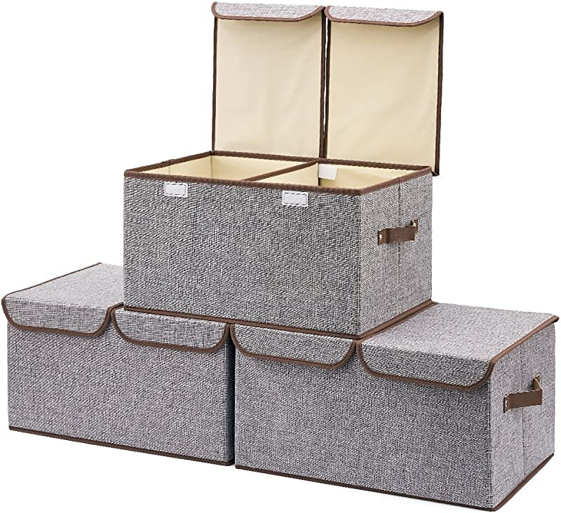 EZOWare Large Storage Boxes 3 Pack Large Linen Fabric Foldable Storage Cubes Bin Box Containers With Lid And Handles For Nursery Closet Kids Room Toys Baby Products Gray