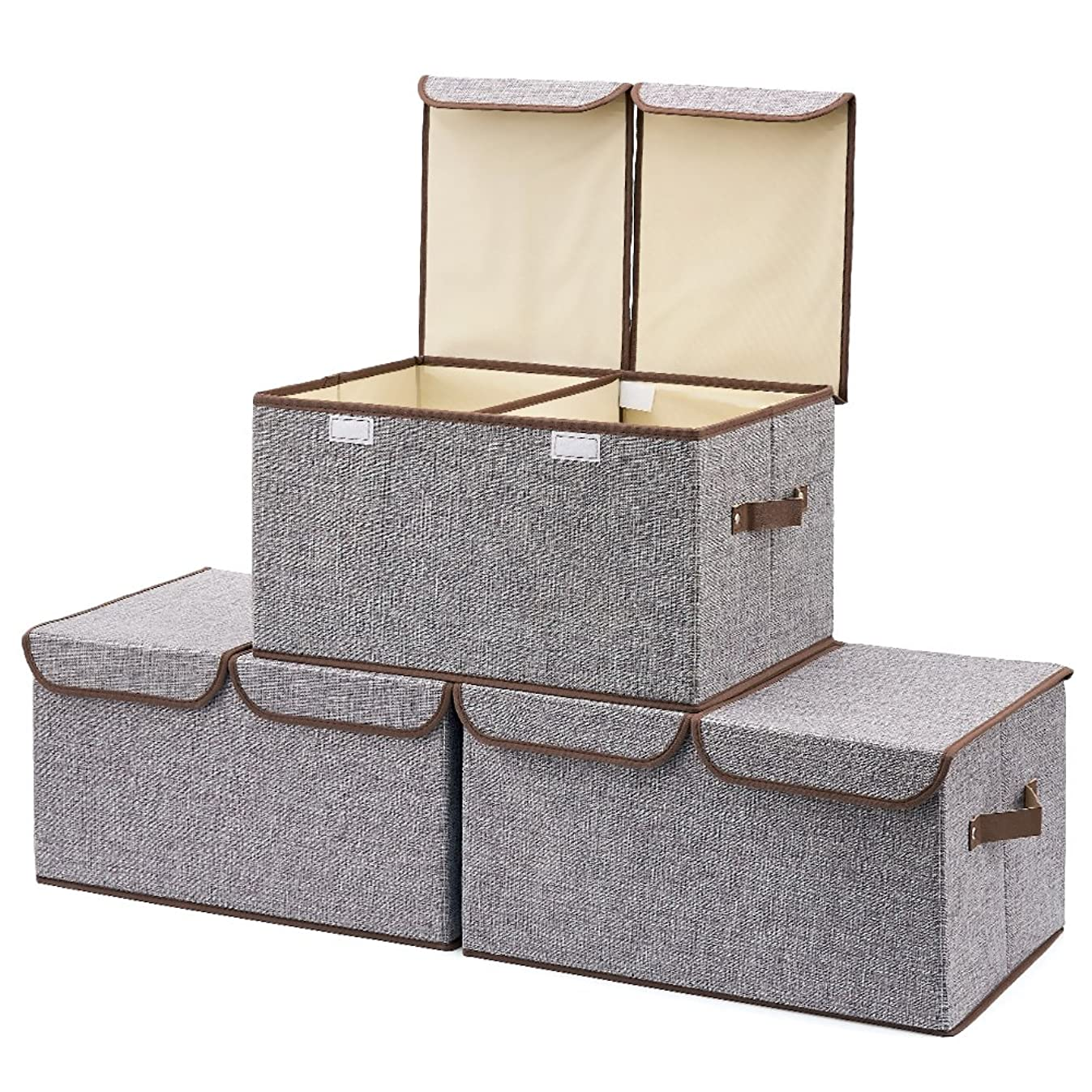 Large Storage Boxes [3-Pack] EZOWare Large Linen Fabric Foldable Storage Cubes Bin Box Containers with Lid and Handles for Nursery, Closet, Kids Room, Toys, Baby Products (Gray)