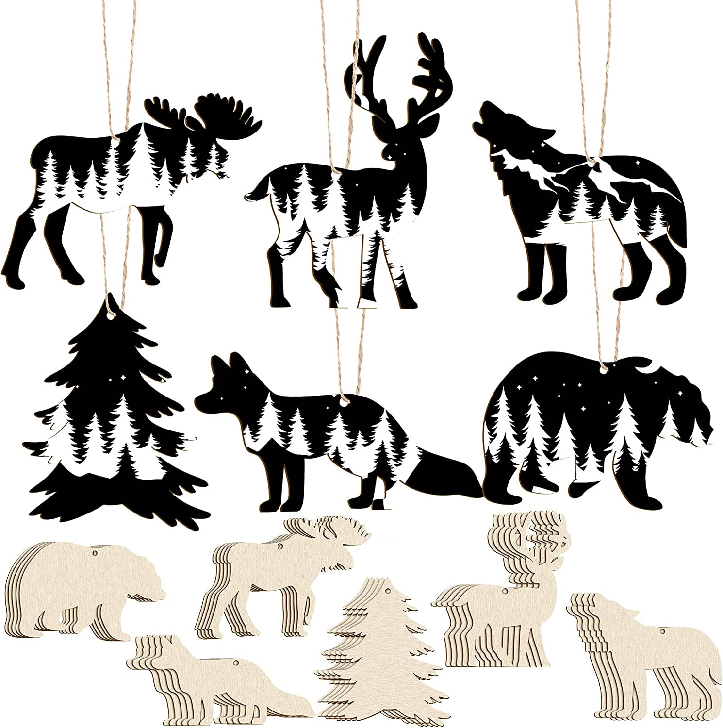 Christmas Wooden Ornaments Wild Forest Animal Ornaments Unfinished Hanging Ornaments Wood Deer Cutouts Animal Party Wall Decor Craft Wood Slices with Rope for DIY Holiday Hanging Decorations (30)
