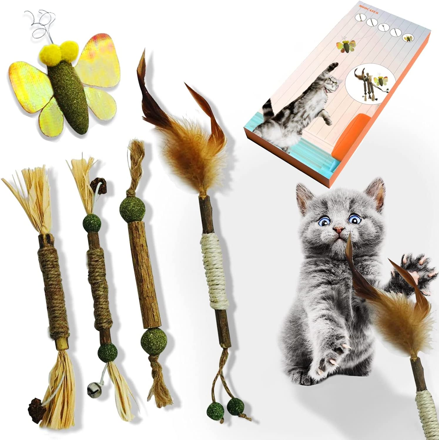 moocaius Free shipping / New 5-Piece Minneapolis Mall Set of Silvervine Sticks Indoor Mint Cat To and