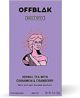 OFFBLAK Caff Free   Nicely Spicy Herbal Tea (12 Pyramid Tea Bags, 30g) - Cinnamon & Cranberry, Relax Tea, Naturally Caffei...