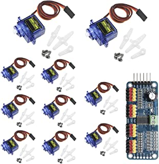 KeeYees 10pcs SG90 9G Micro Servo Motor with PCA9685 16 Channel 12 Bit PWM Servo Motor Driver IIC Module for Arduino RC Ro...