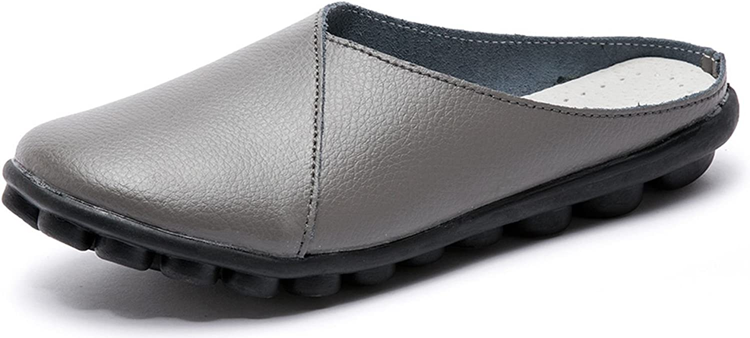 Labato Women's Mules Slip-on shoes Leather Clogs Flats Wallking Slipper Grey