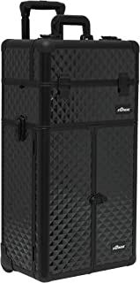 (Diamond, Black) - Sunrise Makeup Case on Wheels 2 in 1 I3665 Professional Artist, French Doors, 8 Trays and 4 Drawers, Locking with Mirror and Shoulder Strap, Black Diamond