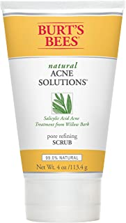 Burt's Bees Natural Acne Solutions Pore Refining Scrub, Exfoliating Face Wash for Oily Skin, 4 Ounces
