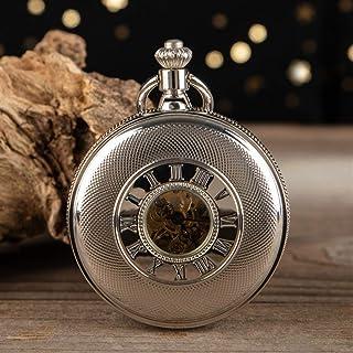 ZHJBD JIAN,Pocket Watch Argent Montre De Poche Mécanique Creux, Montre De Poche Mécanique Romaine, Vieille Montre De Poche...