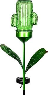Exhart Solar Green Cactus Mason Jar Yard Stake w/ 3 LED Lights - Glass Cactus Outdoor Lights Metal Stake, Solar Cactus Mason Jar, Cactus Glass Metal Ground Stake, 4.7
