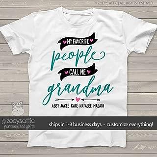 grandma shirt | my favorite people call me grandma | nana or grandma UNISEX shirt personalized with grandkids names | mother's day shirt