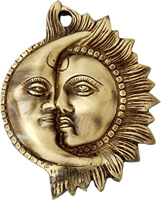 Two Moustaches Designer Sun Moon Brass Wall Hanging (5 x 6 Inches, Brown , Standard )