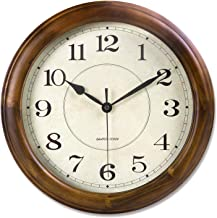 kesin Wall Clock Wood 14 Inch Silent Wall Clock Large Decorative Battery Operated Non Ticking Analog Retro Clock for Livin...