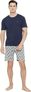 – Pijama Hombre de Verano, Conjunto 2 Piezas Camiseta y Pantalón Corto, 100% Algodón Suave y Transpirable