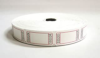 2000 Blank White Single Roll Consecutively Numbered Raffle Tickets