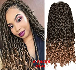 FQNing 18inch 6packs Goddess Faux Locs Crochet Hair Bohemian Locs Soft Wavy Curly Ends Synthetic hair extensions #1B/27
