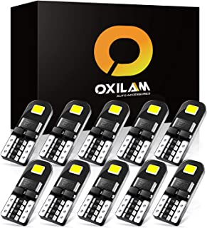 OXILAM 10x 194 LED Bulbs Super Bright 6000K White CANBUS with 2835 Chipsets for T10 W5W 2825 168 LED Bulbs Replacement, Widely Used as License Plate Lights Dome Lights Side Marker Lights (10 PCS)