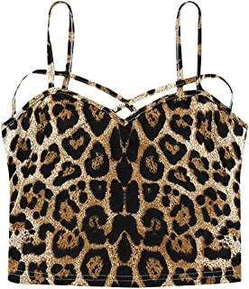 Women V-neck Tank Tops, Ladies Leopard Printed Sleeveless Cut Out Cross Strap Vest Top