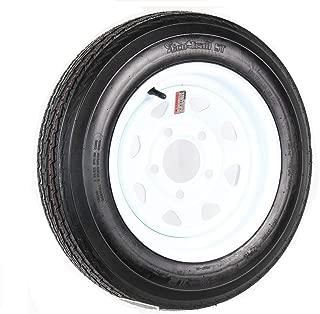 eCustomRim Trailer Tire On Rim 4.80-12 480-12 4.80 X 12 12 in. LRB 5 Lug White Wheel Spoke