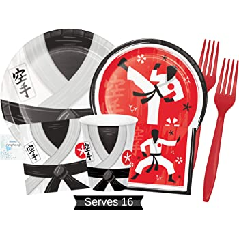 Karate Party Supplies and Decorations Karate Party Plates and Napkins Cups /& Forks for 16 People Perfect Ninja Birthday Party Decorations and Ninja Birthday Party Supplies!
