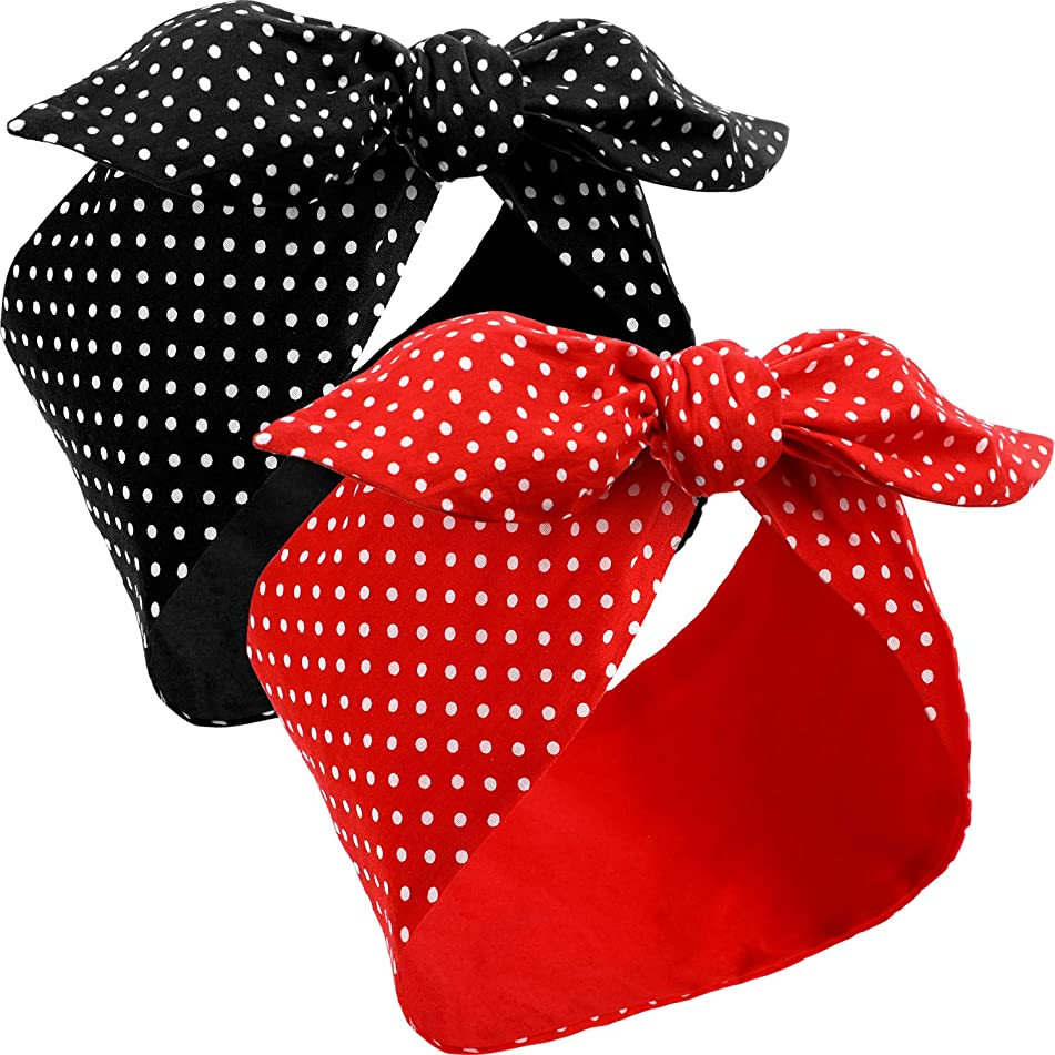 Wire Headband Bow Headbands Retro Polka Dots Headbands Wire Adjustable Headwrap Bowknot Polka Dot, Red and Black Polka Dot Print for Girls and women, 2 Pieces