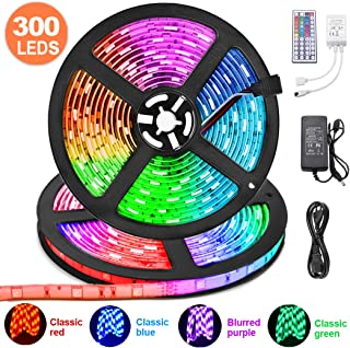 LED Strip Lights 32.8ft, KDORRKU 10m RGB Waterproof Flexible Self-Adhesive LED Light Strip Color Changing Neon Mood Ribbon Lights 300LEDs 5050 Tape Light Remote 12V for Indoor Room Festival Decoration