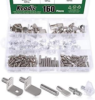 Keadic 160Pcs Hardware Heavy Duty Shelf Pin Kit, 5 Styles Cabinet Support Pegs Holder Metal Nickel (5mm)