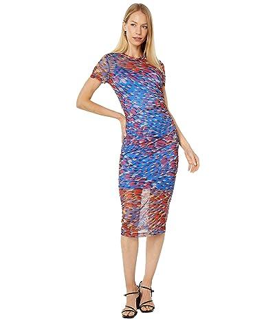 BCBGMAXAZRIA Printed Mesh Knit Dress
