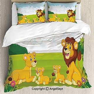 SfeatruAngel Luxe Bedding SetsCartoon Style Lion Family in The Forest Africa Savannah Safari Habitat Decorative,Full Size,Microfiber 3 Piece Duvet Cover Set, Beding Set,Green Pale Blue Yellow