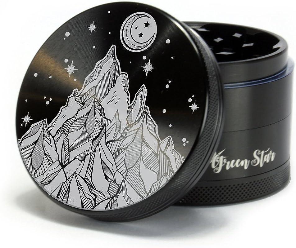 The Stash Co Herb Grinder Starry Night Mountain Scene Custom Grinder 4 Piece Herb Grinder Black