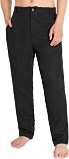 Weintee Men's Relaxed Fit Linen Pants Beach Pants