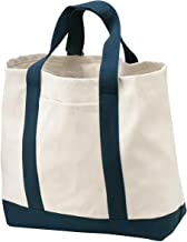Port Authority® - Two-Tone Shopping Tote. B400 Natural/Navy OSFA