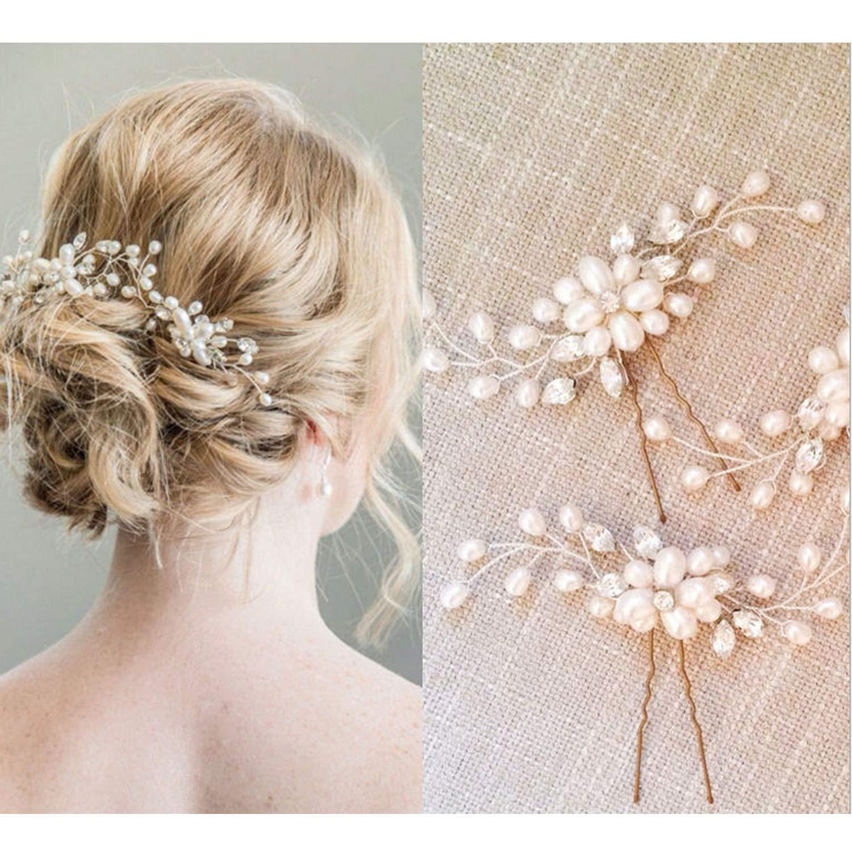Bridal Hair Pins   18PCS Wedding Hair Clips Set Pearl Rhinestones Bride  Headpiece Hair Accessories for Women