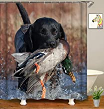 YUYASM Funny Animal Shower Curtain Decor,Black Dog Hunting Duck in River Fabric Bathroom Curtains,Waterproof Polyester Bath Curtain Set with Hooks 70x70 Inch