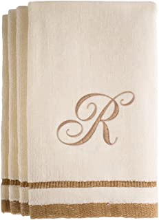 Monogrammed Gifts, Fingertip Towels, 11 x 18 Inches - Set of 4- Decorative Golden Brown Embroidered Towel - Extra Absorbent 100% Cotton- Personalized Gift- for Bathroom/Kitchen- Initial R (Ivory)