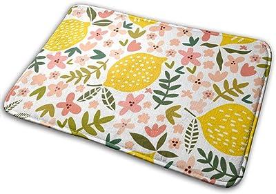 """Flower and Lemon Floor Rug Indoor/Front Door Mats Home Decor Rubber Non Slip Backing 23.6""""(W) X 15.8""""(L)"""