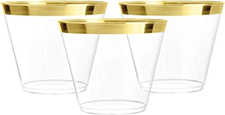 100 Gold Plastic Cups | 9 oz | Hard Disposable Cups | Plastic Wine Cups | Plastic Cocktail Glasses | Plastic Drinking Cups...