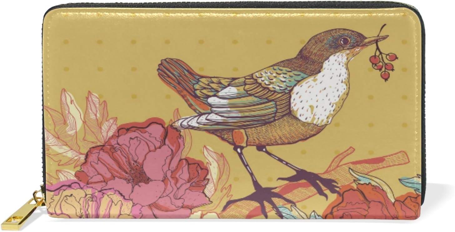 Ranking TOP6 Max 52% OFF Cute Daisy Flower Bird Leather Womens Clutch Wallets Zipper Coin