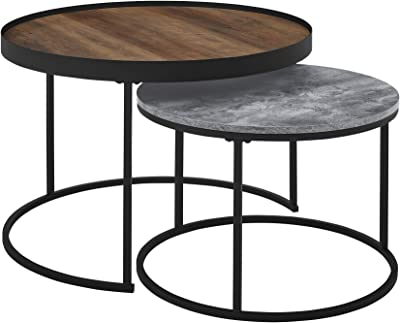 Walker Edison Modern Industrial Wood Round Coffee Nesting Tables Living Room Accent Ottoman Storage Shelf, 30 Inch, Reclaimed Barnwood Brown